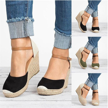 Women shoes Suede Wedges High Ankle Sandals Round Toe Casual Shoes High slope round head sandals casual shoes women platform sandals one word women peep toe high wedges heel ankle buckles round fine high heels field female sandals shoes