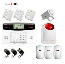 SmartYIBA Russian French Italian Spanish Czech Voice Wireless GSM SMS Alarm System LCD Keyboard Wireless Strobe