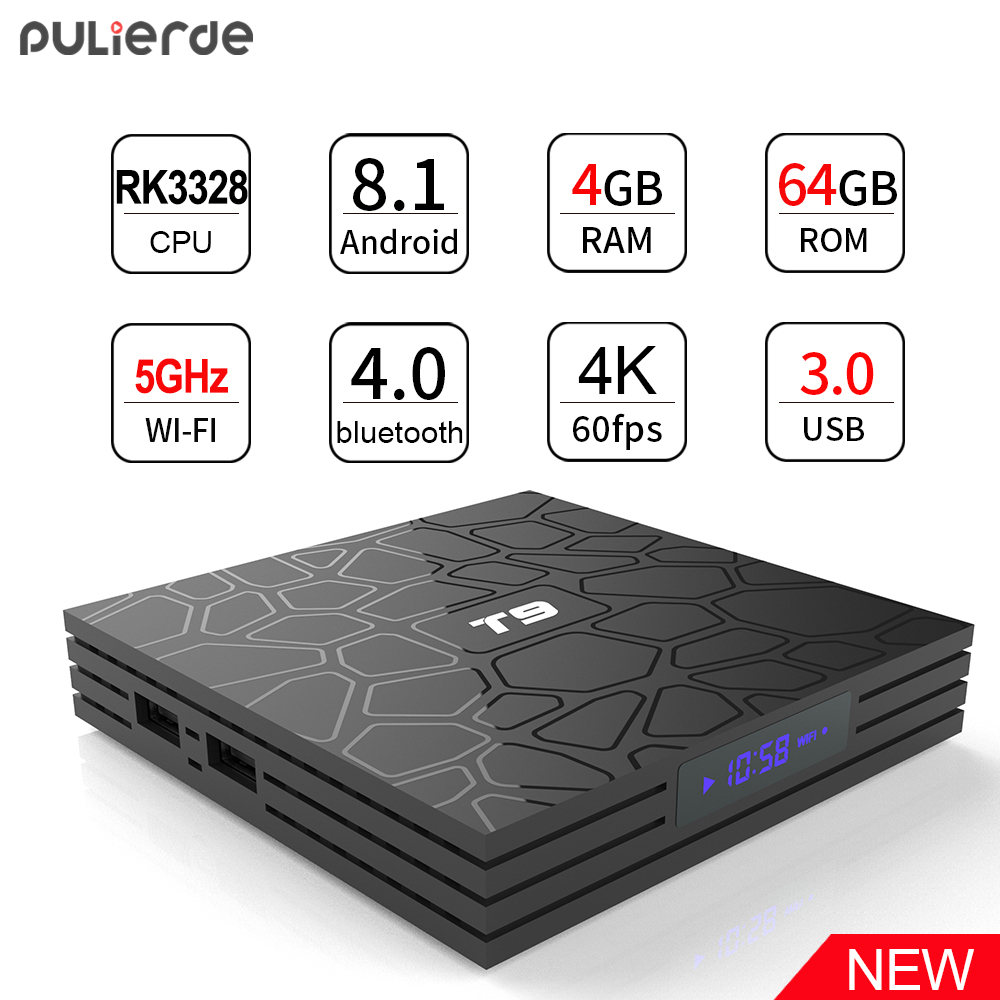 PULIERDE T9 4 ГБ 64 ГБ RK3328 4 ядра Smart Android 8,1 ТВ коробка Bluetooth4.0 H2.65 4 К 2,4 ГГц/5 ГГц WI-FI телеприставки Media Player