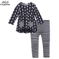 2017 Autumn Fashion Children Set Navy Blue Girl S O Neck Long Sleeve Printed Tops And