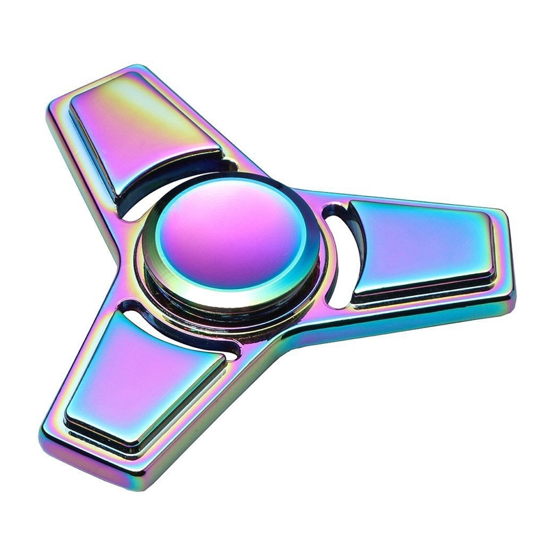 Hand Spinner Fidget Toy Rainbow Colorful Tri Spinner Finger Toy For Autism and ADHD Anxiety Stress