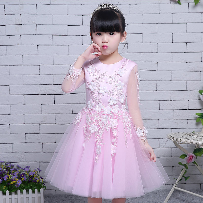 NEW 2017 Europea American Royal Pink Lace Princess Wedding Dress Long Sleeves Ceremony Girls Ball Gown Dress For Children Girls pink lace up design cold shoulder long sleeves hoodie dress