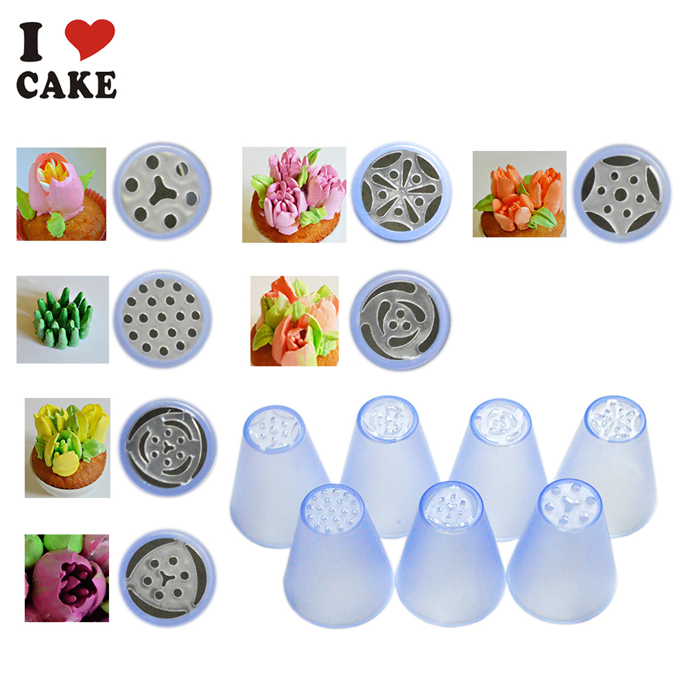aliexpresscom buy 7pcslot russian tulip plastic icing piping nozzles making flower mold pastry decorating tips cake cupcake decoratori cake mold from - Decorating Tips