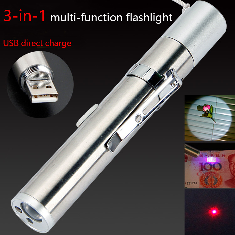 3in1 USB Rechargeable LED Flashlight High-quality Powerful Mini LED Torch Waterproof Design Penlight Hanging With Metal Clip