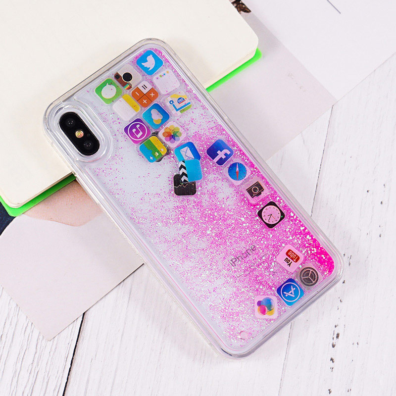 US $2 76 21% OFF|JAMULAR Funny Mobile Apps Icon Pattern Phone Case for  iPhone 7 XS MAX XR 6 6s Glitter Quicksand Liquid Cover For iPhone 8  Fundas-in