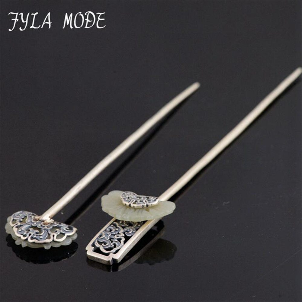 925 Sterling Silver Hair Sticks Antique Silver S925 Fine Quality Jade Ethnic Hair Jewelry Handmade Silver Hair Stick For Women