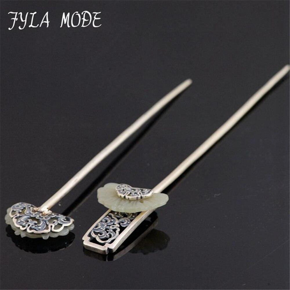 цена на 925 Sterling Silver Hair Sticks Antique Silver S925 Fine Quality Jade Ethnic Hair Jewelry Handmade Silver Hair Stick For Women