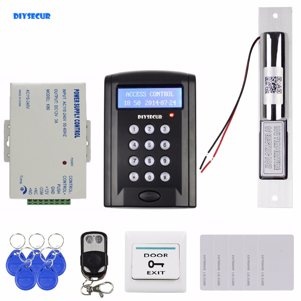 DIYSECUR Remote Control 125KHz RFID Keypad Door Access Control Security System Kit + Electric Bolt Lock + Exit Button  B100 diysecur 280kg magnetic lock 125khz rfid password keypad access control system security kit exit button k2