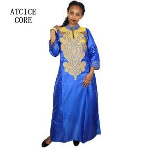 Image 4 - 스카프와 아프리카 부드러운 소재 디자인 드레스 자수 디자인 긴 드레스