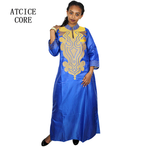 Image 4 - african soft material design dress embroidery design long dress with scarf