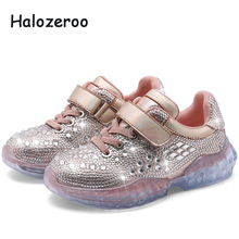 Spring New Fashion Kids Casual Shoes Baby Girls Rhinestone Shoes Children Silver Sport Sneakers Hot Brand Shoes Trainer 2019 spring new kids pu leather shoes baby girls sport sneakers children mesh shoes boys fashion casual shoes soft brand trainer 2019