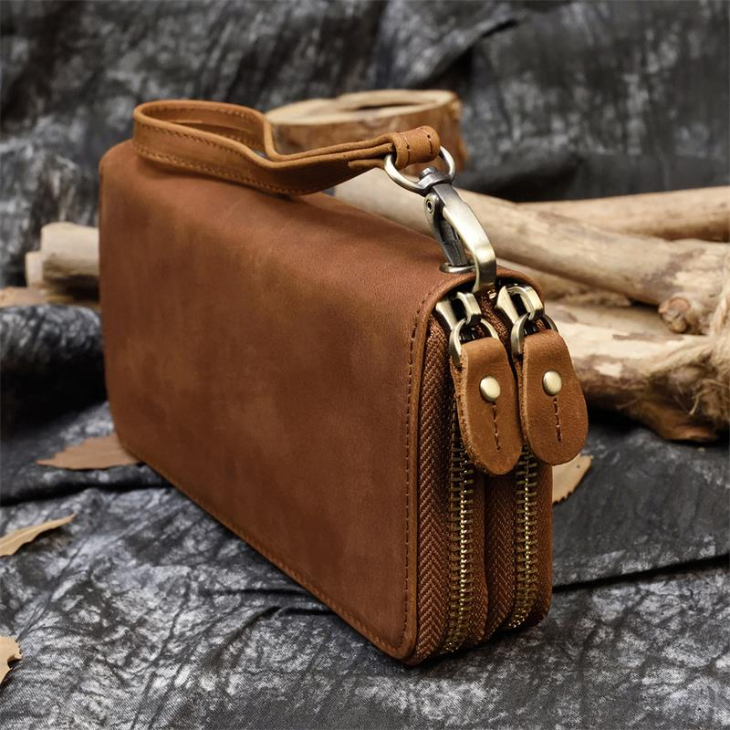MAHEU New Style Leather Purse Wallet For Men Women Male Female Long Wallet 100% Genuine Leather Zip Phone Wallets Ladies Girls