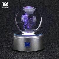 Hero Thor 3D Crystal Ball Lamp Raytheon Desktop Decoration Glass Ball Night Light LED Colorful Rotate