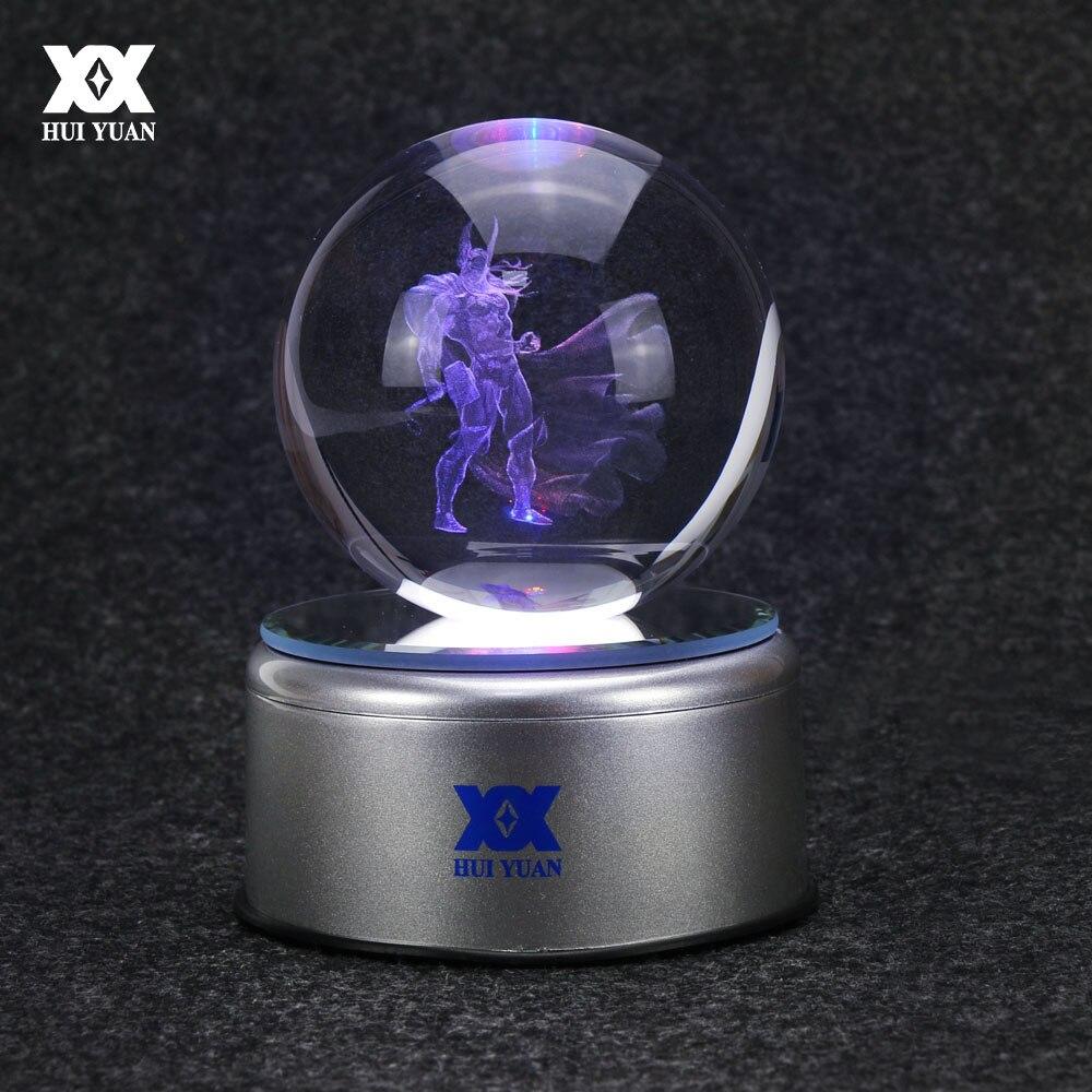 Hero Thor 3D ลูกแก้วโคมไฟ R Aytheon สก์ท็อปตกแต่งแก้วบอลไฟกลางคืน LED ที่มีสีสันหมุนฐานฮุ่ยหยวนยี่ห้อ