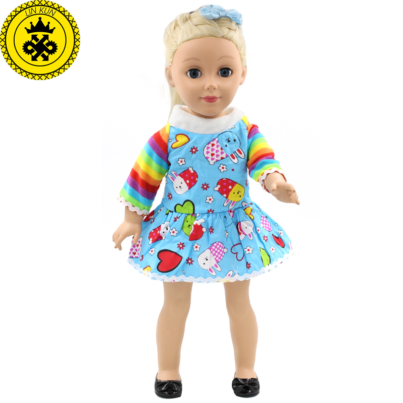 For 18 Inch American Girl Doll Accessories Cute Print Baby Doll Clothes Rainbow Sleeve Skirt Play House Accessories  MG-160 handmad 18 inch american girl doll clothes princess anna dress fits 18 american girl doll mg 032
