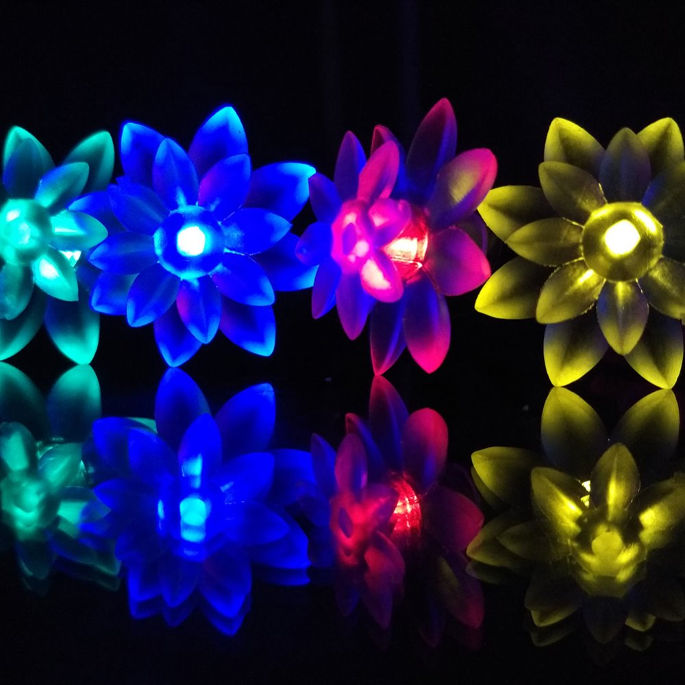 Yiyang solar garden decoration lamp 48m 20 led lotus flower yiyang solar garden decoration lamp 48m 20 led lotus flower garland lights for christmas wedding engagement party decoration izmirmasajfo