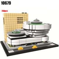 744Pcs Architecture Figures Solomon R Guggenheim Museum Model Building Kit Blocks Bricks Girl Toys For Children