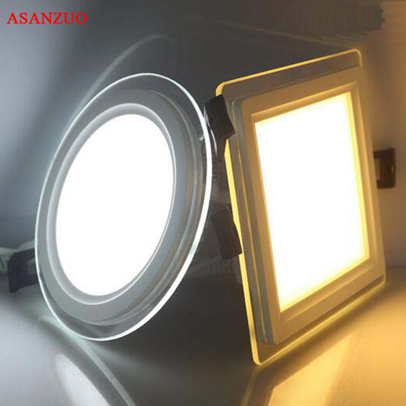 on sale 6eb64 d1bbb US $88.16 24% OFF|20pc/lot 3 color change glass led panel Downlight 6W 12W  18W Panel Light AC85 265V Ceiling Recessed Indoor Lighting Round Square-in  ...