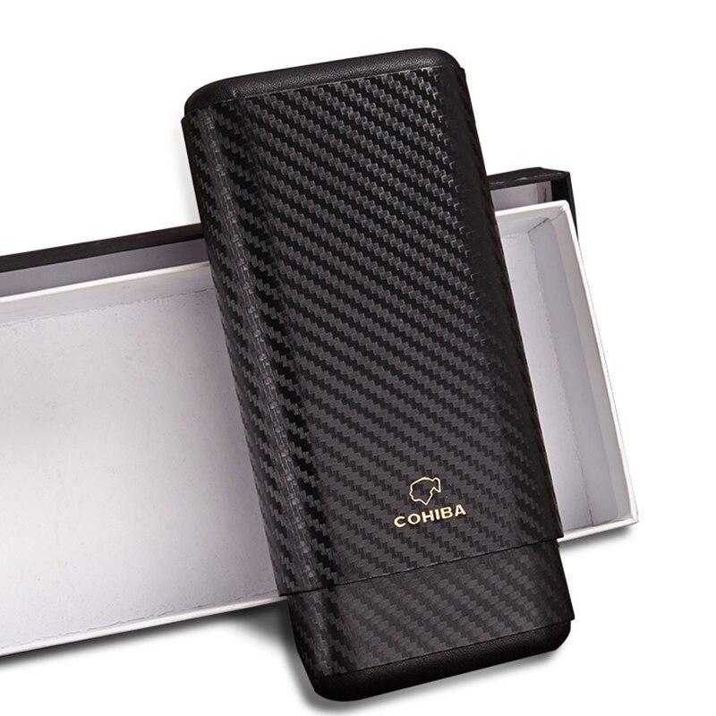 COHIBA Gadget haut de gamme Excellent noir en Fiber de carbone Portable étui à cigares voyage 3 doublé Tube en bois de cèdre avec boîte Gfix noire