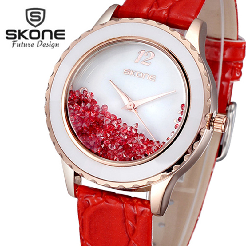 Skone Luxury Brand Fashion Quartz Watch Women Ladies Leather Strap Watches Casual Clock Female Dress Gift relogio feminino 2017 2016 brand ochstin relogio feminino clock female genuine leather dress watch women ladies fashion casual quartz wrist watches