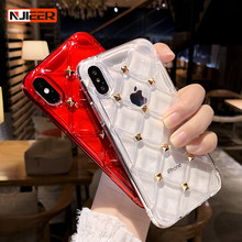 Luxury Diamond Texture Transparent Phone Case For iphone X XS Max XR 7 8 6 S 6S Plus Clear Soft Silicon Cover for iPhone Cases