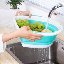 Folding Drain Basket Retractable Fruit Home Washing Vegetable Basin High Capacity Cleaning Supplies
