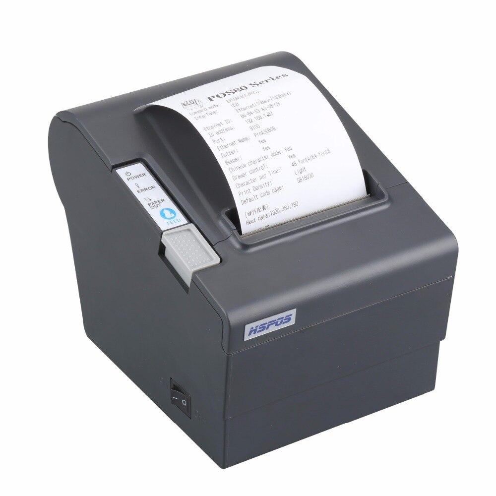Moins cher Bluetooth Ethernet USB POS 80 MM POS80 thermique imprimante de reçus avec unité de découpage automatique andorid de facturation et win10