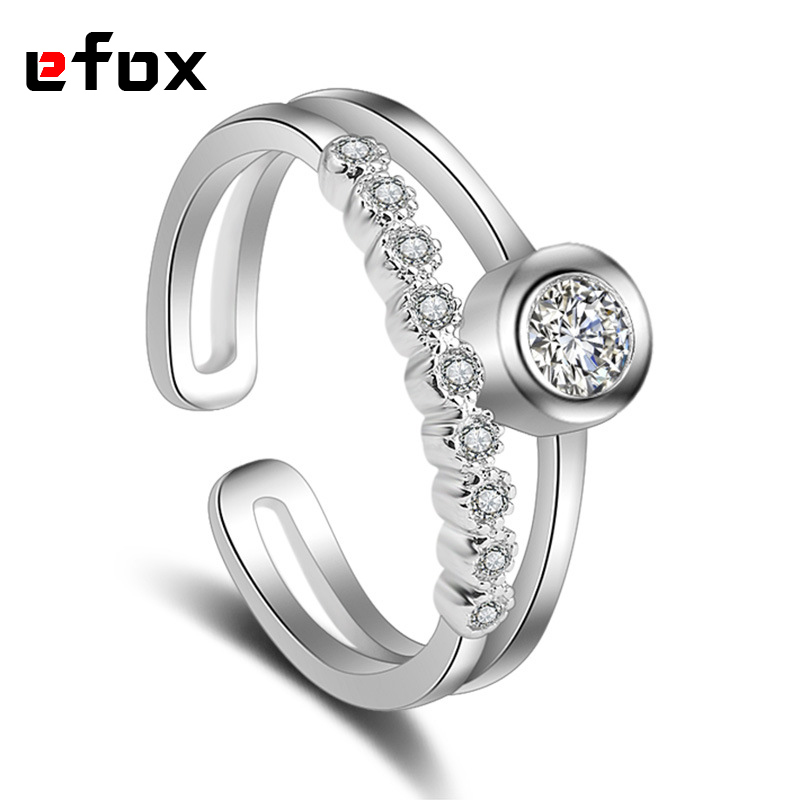 Womens Fashion Ring Zircon Crystal Ornaments Silver-plated Polishing Princess Ring 2017  ...