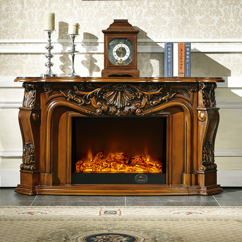 living room decorating warming fireplace W148cm wood ...