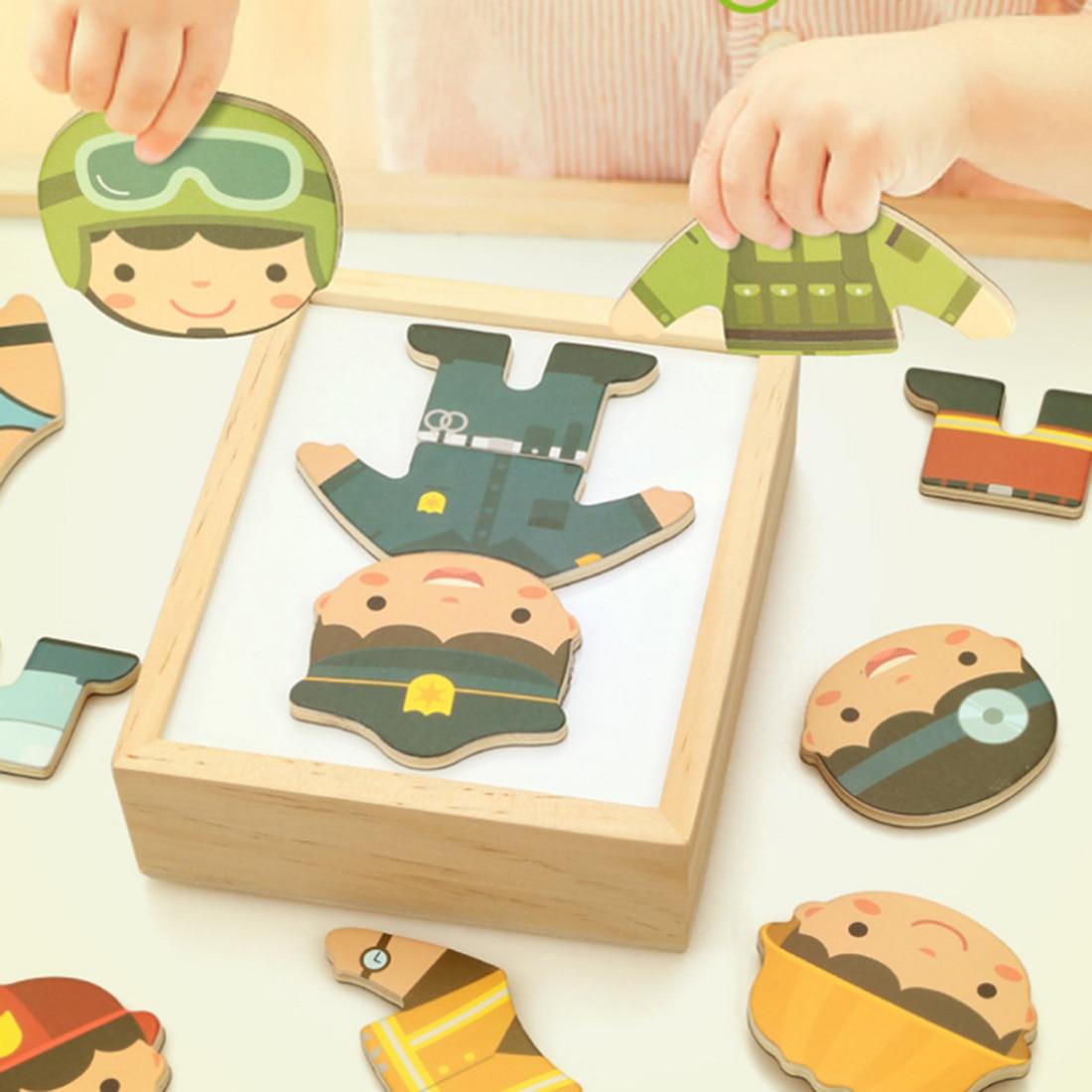 Costume de Profession en bois changeant de vêtements ensemble de Puzzle enfants Puzzle éducatif jouets en bois éducatifs pour les enfants