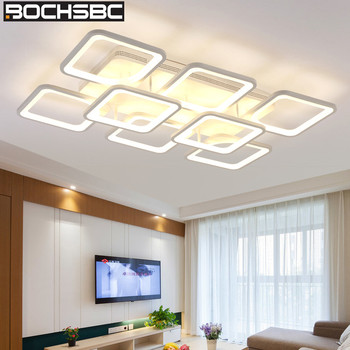 BOCHSBC Square Design Acrylic Lampshade Ceiling Lamp Modern LED Lamp Lighting Fixtures for Living Room Bedroom Dining Room Lamps
