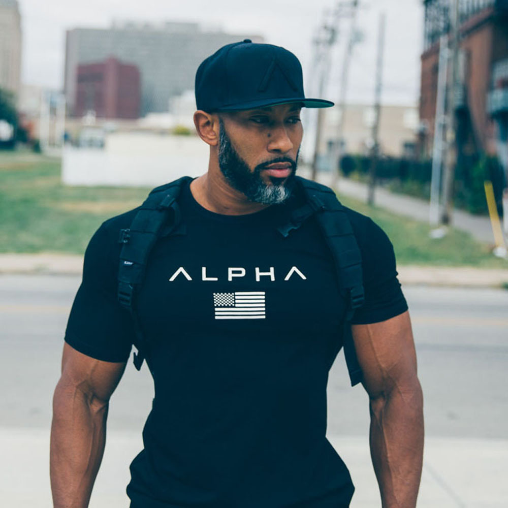 Men Fitness Shape Building Workout Muscle Exercise T Shirt Summer Beach Top Tee