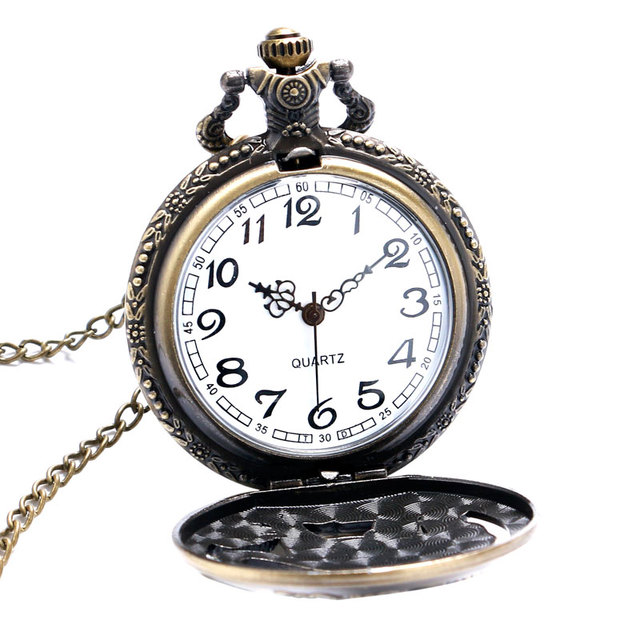 Xmas Gift Bronze Tiger Hollow Quartz Pocket Watch Clock Necklace Pendant Womens Men GIfts Reloj De Bolsillo Dropshipping P903