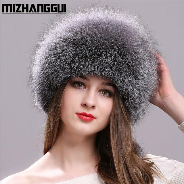100% целой лисы Мех животных Шапки для Для женщин с кожаным верхом монгольский принцесса шапка с помпоном лиса Мех животных шляпа Женская зимняя обувь