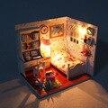 J009 história juventude Diy De Madeira Modelo de Móveis Casa de Bonecas Em Miniatura quarto Toy Miniatura Artesanal Casa De Bonecas Presente de Aniversário
