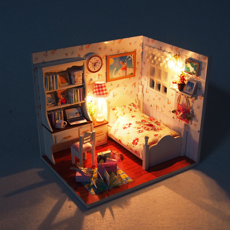 j009 youth story diy wooden miniature bedroom doll house furniture