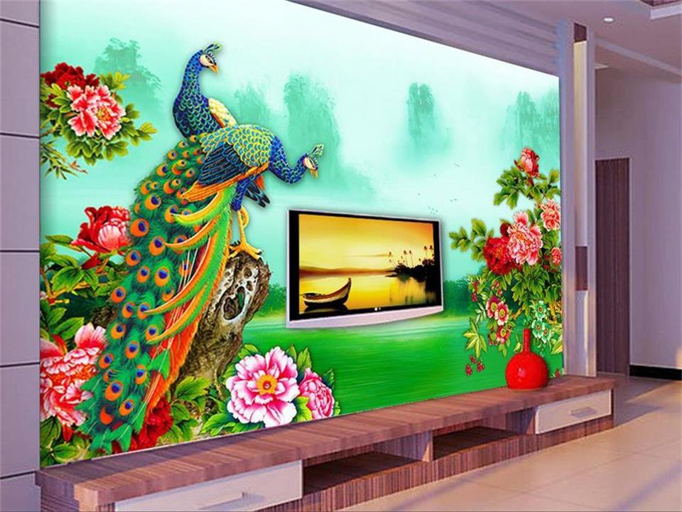 custom 3d photo wallpaper living room mural picture TV background wall peacock flowers 3d painting non-woven 3d murals wallpaper free shipping european tv background wall painting non woven wallpaper living room wallpaper modern rose wallpaper mural