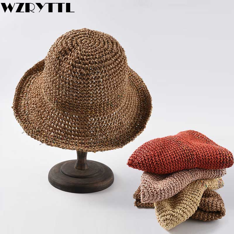2019 New Crochet Straw Hat Bucket Sun Cap Women Beach Hats Summer Floppy Hat