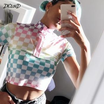 DICLOUD Harajuku Plaid t-shirt Women Turtleneck Bodycon Streetwear shirts 2019 Summer Sexy Checkerboard Crop Tops HOT Чокер
