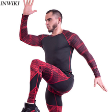 Men Long Sleeve Running Sets Yoga Sets Quick Dry Basketball Gym Jogging Suit Compression Yoga Sport Fitness Set Sport Clothes цена и фото