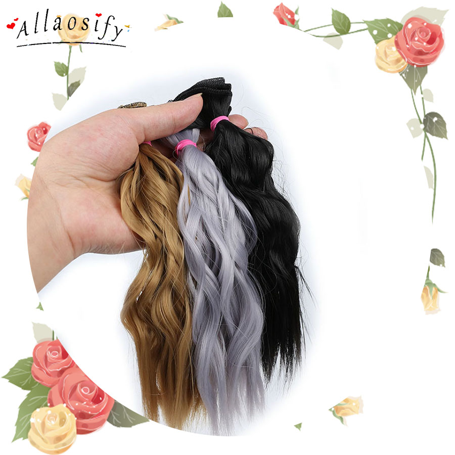 Allaosify BJD Hair Curly 25CM*100CM BJD WIG For Dolls Synthetic Wig Free Shipping(China)