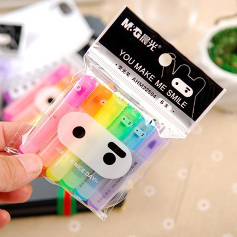 6 pcs/lot(1 bag) Cute Kawaii Mini Fluorescent Highlighter Cartoon Rabbit Chalk Marker Pens School Supplies Marker For Drawing