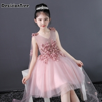 2019 new cute lovely toddler baby girls princess short sleeve dress party kids tulle tutu dress gray pink