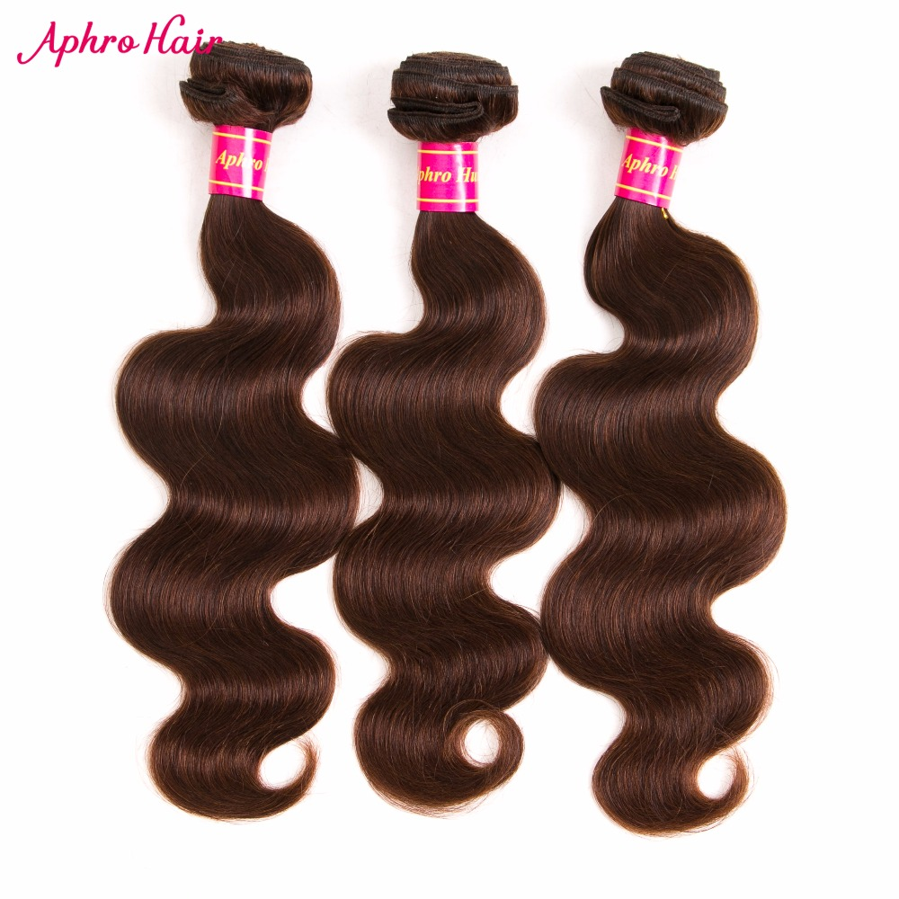 "Aphro Hair Brazilian Body Wave Human Hair Extensions 1 Piece Non-Remy Hair Bundles Light Brown Color #4 Free Shipping 8""-28"""