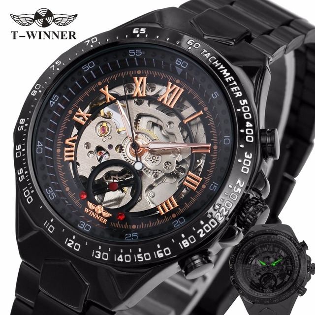 2017 Black Rose Gold WINNER Men Watch Cool Mechanical Automatic Wristwatch Stainless Steel Band Male Clock Skeleton Roman Dial