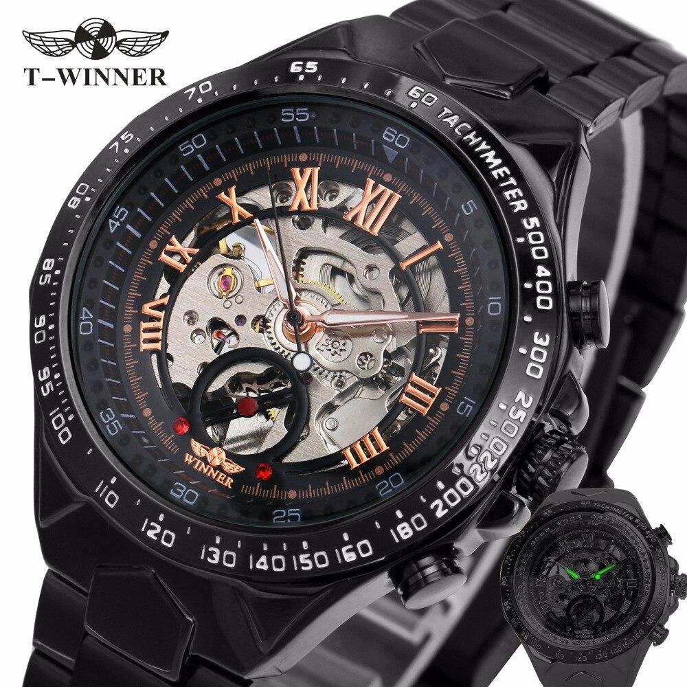 2017 schwarz Roségold GEWINNER Männer Uhr Coole Mechanische Automatische Armbanduhr Edelstahl Band Männlichen Uhr Skeleton Roman Zifferblatt