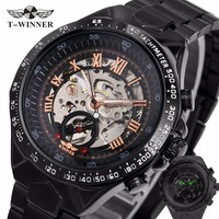 WINNER Business Men Automatic Wrist Watch Silver Stainless Steel Band Male Mechanical Clock Skeleton Dial With