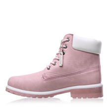 LALA IKAI Autumn Women Boots Size 9 10 Platform Pink Women Ankle Boots Soft Leather Lace up Ladies Shoes Botas Mujer XWN0882-5