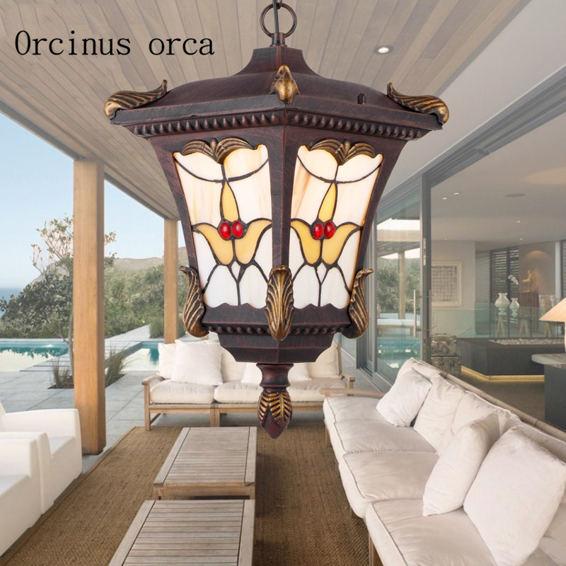 American retro stained glass outdoor chandelier garden balcony aisle European waterproof LED outdoor Chandelier free shipping