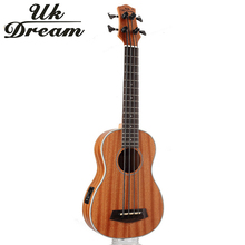 30 дюймов Мини электрическая гитара Музыкальные инструменты Полный Sapele Ретро Закрытая ручка Гавайские гитары укулеле 4 струны бас-гитары ra UB-113